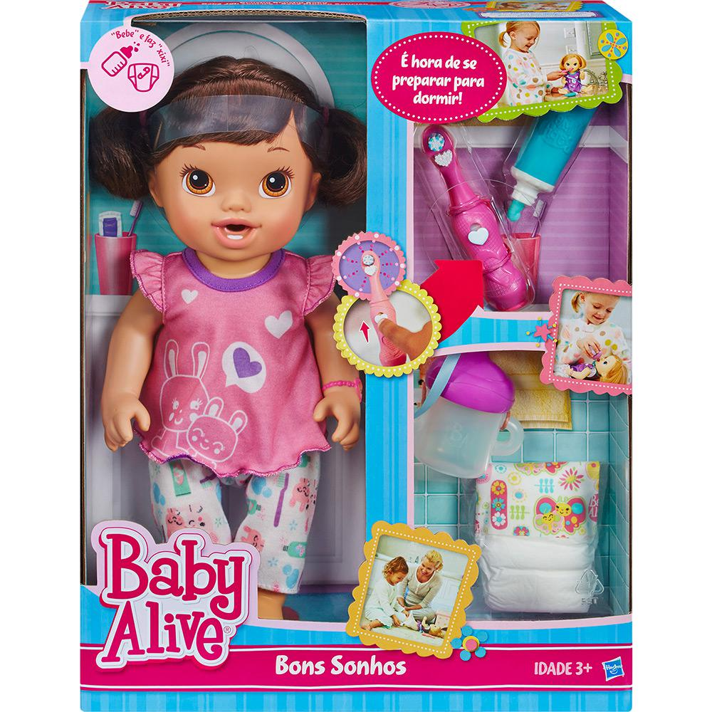 e8dab02b1b BONECA BABY ALIVE BONS SONHOS MORENA HASBRO - Ciatoy